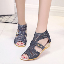 Summer Shoes Woman Crystal Sandals After the Zipper Bing Women's Sandals Woman Wedges Peep Toe Women Low Heel Shoes Size 36-40