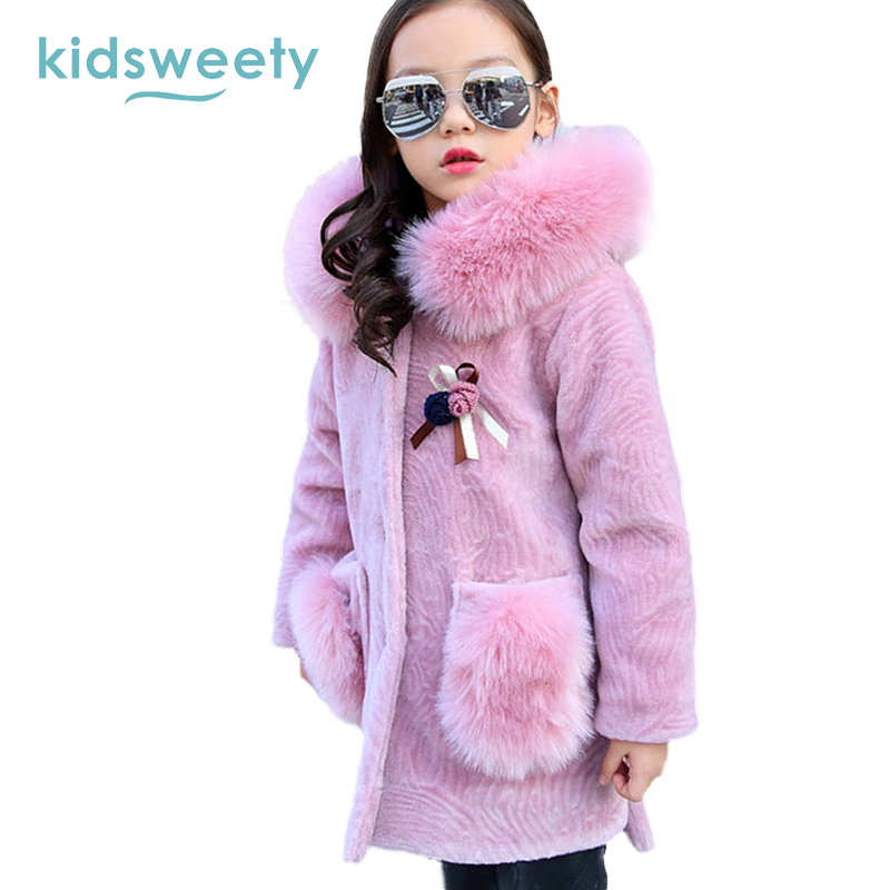 Kidsweety Girls Coat Pink Thick Straight Long Sleeve Hooded Animal Print Pattern Patchwork Applique Fashion Girl Long Wools Coat<br>