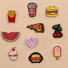 Cartoon Hamburg Embroidered Patches DIY Clothes Jeans Complement Cave Decorative Accessories Cute Pizza Chips Food Iron On Patch