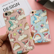 New Fashion Cartoon Pink Unicorn Scrub Ultra Thin Hard PC Case for iPhone 5 5S SE 6 6S 7 PIus Back Cover Fundas Capa Cases(China)