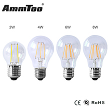 2W 4W 6W 8W E27 Led Filament Bulb Lamp 10V 220V Clear Glass Cover Edison Bulb A60 Ampoule Led Lights For Indoor Home Lighting