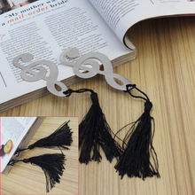 2x Book Magazine Label Mark Metal Musical Black Tassel Notation Bookmarks Favor Gift Stationery Supplies Reading Tools Decor