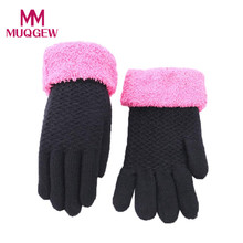 1 Pair Winter Women Glove High quality Black Yellow Hot Pink Knitted Mittens Plush Thick Warm Gloves & Mittens #ZJ1102(China)