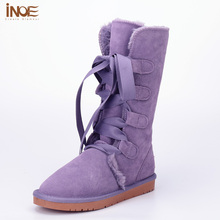 INOE fashion lace up bow winter snow boots for women high quality long synthetic fur lined winter shoes cow split leather boots