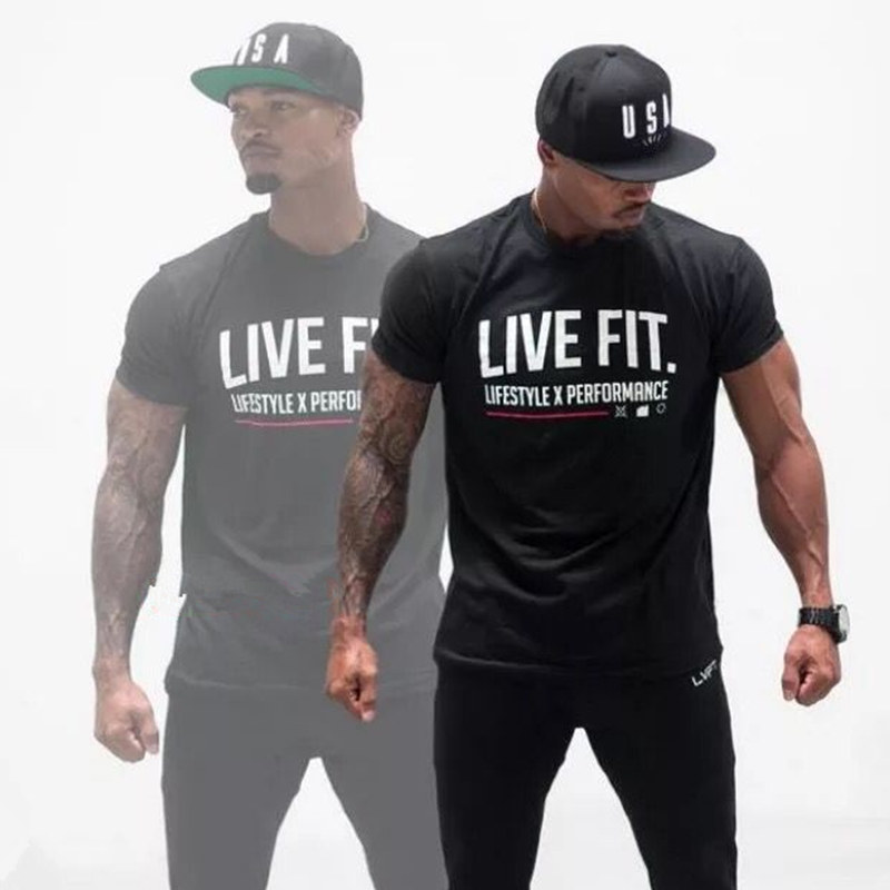 Men Brand printed T-shirt Fashion Casual Tops Muscle male clothes cotton Slim fit Tees personality clothing Short sleeves shirts