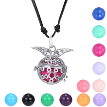 Silver Mexican Bola Cage Pendant Necklace Pregnancy Angel Ball Bell with Long Adjustable Leather chain Musical Sound bola