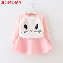 2017 Cartoon Bunny Cat Girl Clothes Suit Long Sleeve T-shirt Tops and Skirt 2pcs Set Fashion Fall Suit 2 Colors 80-120 Rabbit