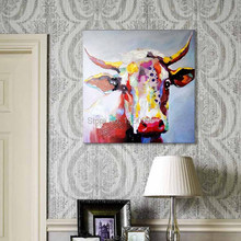 100%Handmade Decor Works High Quality Abstract Animal Modern Wall Art cow Fruit Oil Painting On Canvas For Wall Decor Artworks