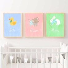 Pato Elefante Conejo Nursery Art Canvas Print Pintura Cartel de La Pared Imágenes Para Kids Room Decor Home Decorativo Sin Marco