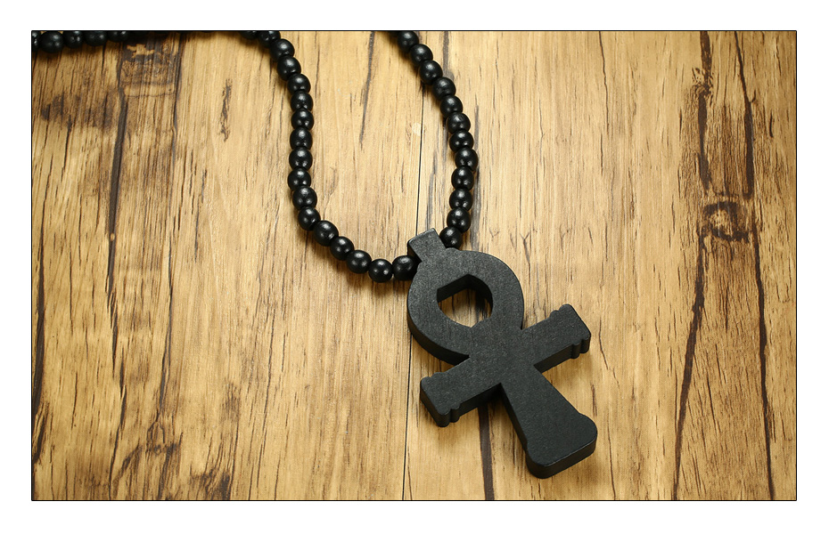 Meaeguet Carving Ancient Egypt Ankh Pendant Necklace For Men Amulet With 8mm Wood Beads Chain Length -90CM (4)