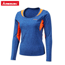 Kawasaki Women Gym T-Shirt Long Sleeve Autumn Table Tennis Badminton Shirt O Neck Quick Dry Breathable Sportswear LT-17283(China)