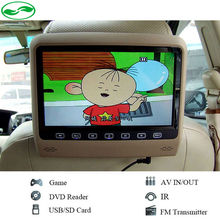"9"" Touch Button Car Headrest DVD Video Player HD Screen 800*480 HDMI/Game/DVD/USB/SD/IR Transmitter Portable Headrest Monitor"
