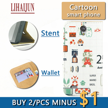 LIHAIJUN Fashion Cartoon Flip Pu Leather TWO Card wallet Phone Case For MTC Smart Sprint 4G Case Cover Free Shipping