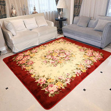 Fashion Pastoral Rose Rugs And Carpets For Home Living Room Soft Coral Velvet Bedroom Area Rugs Coffee Table Floor Mat Alfombras(China)