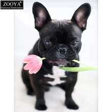 ZOOYA full square drill 5D DIY diamond painting bulldog&Rose diamond embroidery Cross Stitch Rhinestone mosaic decoration MX