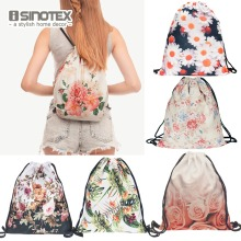 Fashion New Storage Bag 3D Flowers Printed Women Drawstring Shopping Bag Floral Pattern 30*39cm/11.8*15.4'' 1PCS/Lot(China)