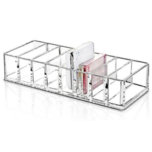 Clear Acrylic Brush Lipstick Holder Makeup Organizer Cosmetic Makeup Tools Storage Box Case 22x9x5.5CM(China)