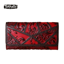 Tokharoi Brand Women Genuine Cow Leather Bags National Long Wallets Totem Pattern Fashion Hasp Standard Wallet Original Design(China)