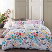 Egyptian Cotton Bedding Set King Size Flower Printed Cotton Duvet Cover Queen Size Luxury Bedspread Bed Linen Set