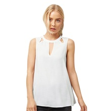 Buy Hollow Shirt Basis Women Summer Chiffon Tops White Sleeveless Blouses Women Clothes Elegant Vintage Feminine Shirts for $5.62 in AliExpress store
