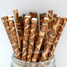 100pcs Leopard Print Paper Straws,Vintage Brown Animal Safari Jungle Zoo Kids Birthday Party,Colored Pattern Mason Jar Straws(China)