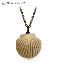 QIHE JEWELRY Vintage Antique Brass Mermaids Sea Shell Locket Necklace Nautical Sea Ocean Beach Jewelry Beach Wedding Collection(China)