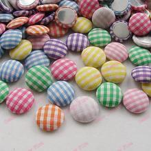 100pcs tartan cloth button Mixed color check fabric covered button round 16mm flat back cabochon garment accessories DIY 280111