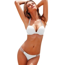 Women Bikini Set Summer Solid Hollow Out Bikini Set Sexy Push Up Elastic Underwire Two-Pieces Separate Sexy Beach Lady Swimsuit