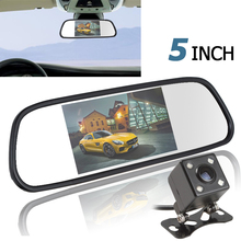 5 Inch Color TFT LCD Car Mirror Monitor Auto Car Rearview Parking Monitor + 170 Degree Night Vision Car Rear View Reverse Camera(China)
