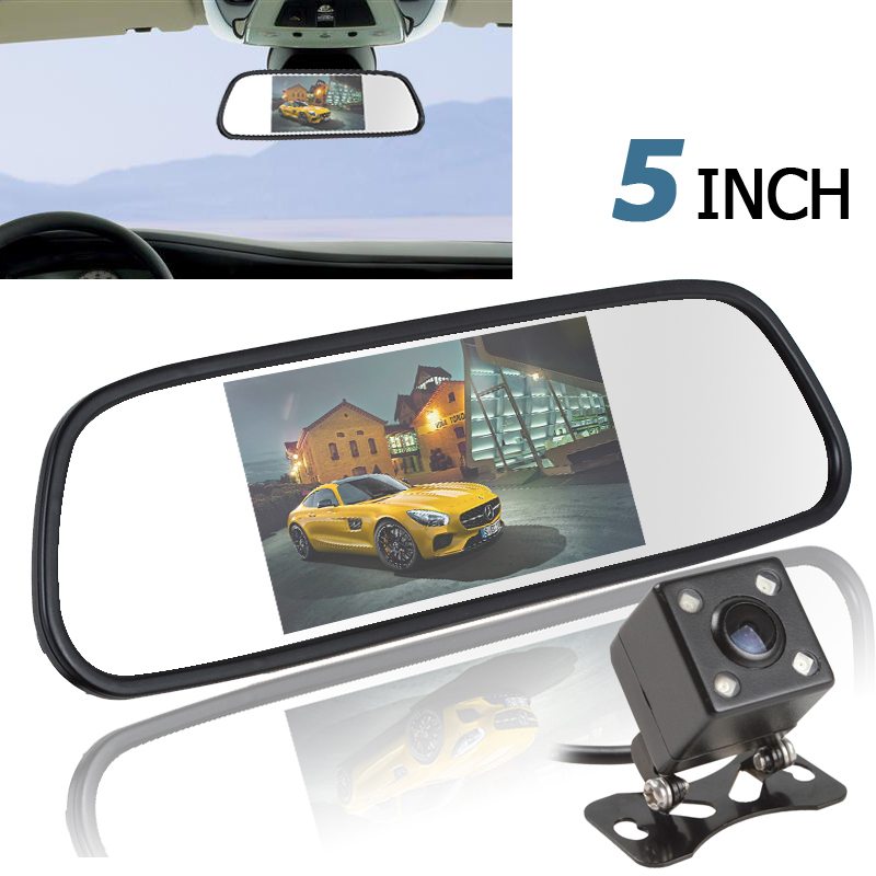 5 Inch Color TFT LCD Car Mirror Monitor Auto Car Rearview Parking Monitor + 170 Degree Night Vision Car Rear View Reverse Camera<br>