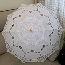 Hand made 2 Colors 3 Sizes Cotton Lace Wedding Decoration Gift Parasol Umbrella Fashion Show Party High Quality Free Shipping(China)