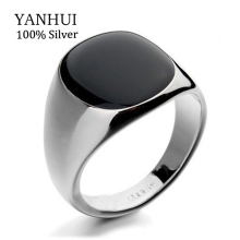 YANHUI Hot Sale Fashion Men's Black Wedding Rings For Men With 18KRGP Stamp Gold Color Black Onyx Stone Ring Men Jewelry R0378(China)