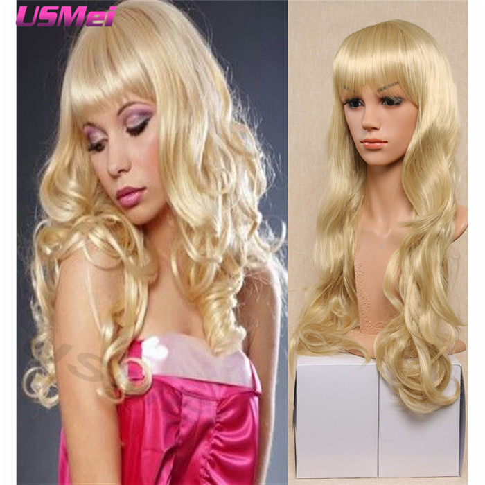 blonde wig with bangs long synthetic wigs cute women wigs for afro american women sunny wigs perruque cheveux peruca sintetica<br><br>Aliexpress