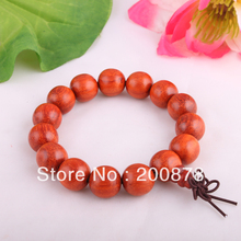 BRO640 Buddhist Wooden beads Prayer Wrist Mala,15mm,China Big Leaf Red Sandalwood Man Bracelet
