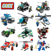 GUDI Earth Border SWAT Military Fire Rescure Serie Car Helicopter Building Block Toys legoing Technic City Lepin Soldiers Police