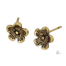Doreen Box Earring Ear Post Stud Earrings Plum Blossom Flower Gold Tone Antique Gold W/ Stoppers 8mm x 8mm,2 PCs 2017 new