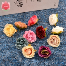 Wholesale 100pcs Blooming Peony Cloth Artificial Flowers For Wedding Party Home Room Shoes Hats Decoration Marriage Silk Flowers