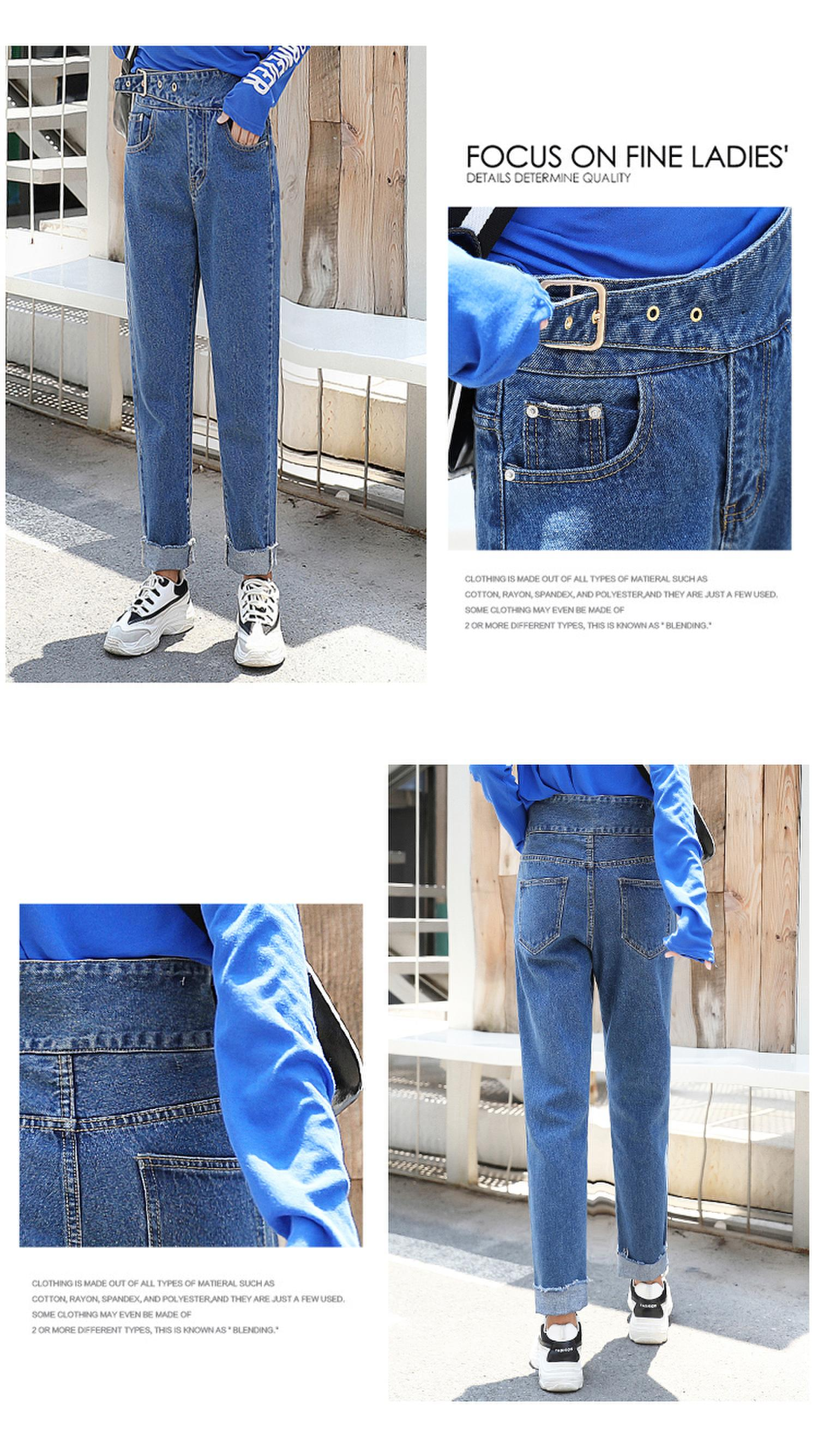 Bottoms Jeans Guuzyuviz Autumn Winter Plus Size Jeans Woman Vintage Casual Print Hole Ripped Washed Cotton Denim High Wasit Pants Mujer Great Varieties
