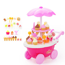 girl simulation small carts mini candy car pretend play kitchen toy ice cream shop supermarket eating sweet cart for children