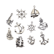 DIY Vintage Silver Alloy Sailboat Ferry Anchor Love Mixing Charm Pendant Jewelry Findings Making 100pcs Ne264