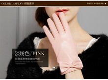 Direct Selling 2016 Winter Solid Pink Genuine Leather Women Gloves Fashion Sheepskin Glove Warm Thermal Free Shipping