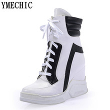 YMECHIC Fashion 2017 Lace Up Wedges Platform Casual Shoes Woman Patchwork Womens Winter Spring Black White Red Ankle Women Boots(China)