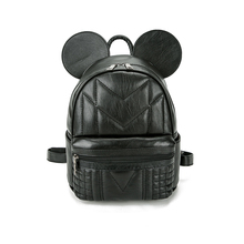 Free shipping women pu leather backpack 3D cat bags Mickey Mouse backpack bag big ears child minnie Emoji shopping school bag