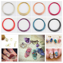 1 Roll 10m Colorful Nail Art Copper Wire Line DIY Manicure Nail Art Decoration Tool