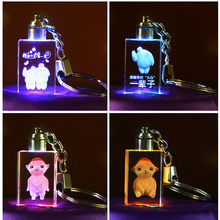 Customize 3D Laser Crystal Picture Engraved Key Chain For Personallized Gifts(Default Blue Led Light) CK001(China)