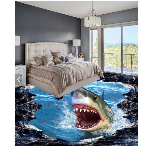 3d wallpaper custom 3d flooring painting wallpaper murals Shark 3D three-dimensional painting wall 3d living room photo wallpaer<br>