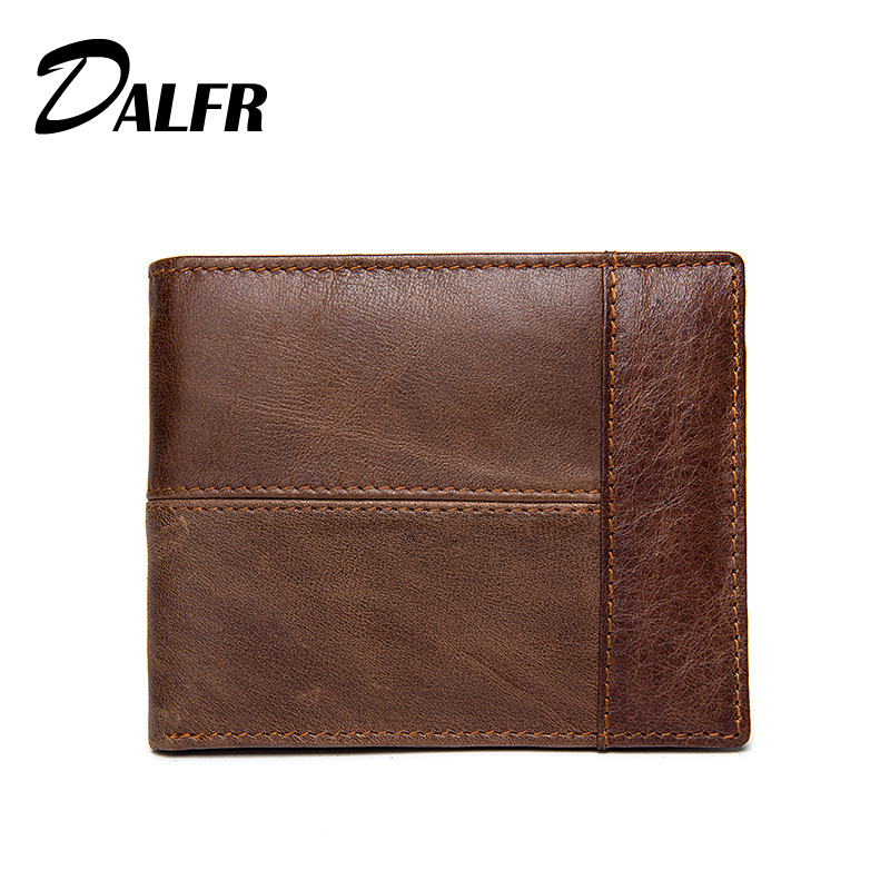 DALFR Genuine Leather Mens Wallets Card Holder Male Short Wallet 6 Inch Cowhide Vintage Style Coin Purse<br><br>Aliexpress