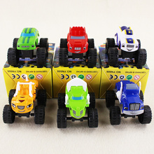 6pcs/lot 8cm Cool Blaze Machines Russia Blaze Miracle Cars Kid Toys Sliding Vehicle Car Transformation Toys