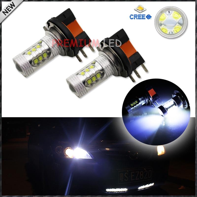 2pcs 8000K Light-Blue 80W High Power CREE H15 LED Bulbs For Audi BMW Mercedes Volkswagen For Daytime Running Lights<br><br>Aliexpress