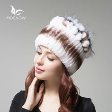 MOSNOW Winter Hats Female 2017 Rex Rabbit Fur Women Vintage Flower Top Casual Solid Knitted Caps Skullies Beanies Bonnet Femme(China)